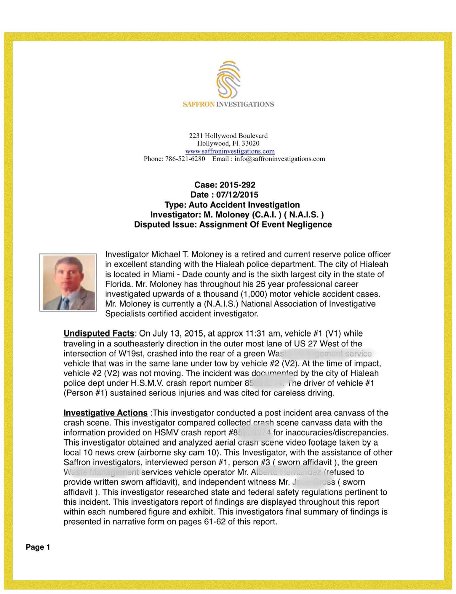 career investigation report Created april 2010, revised september 2011, revised november 2011.