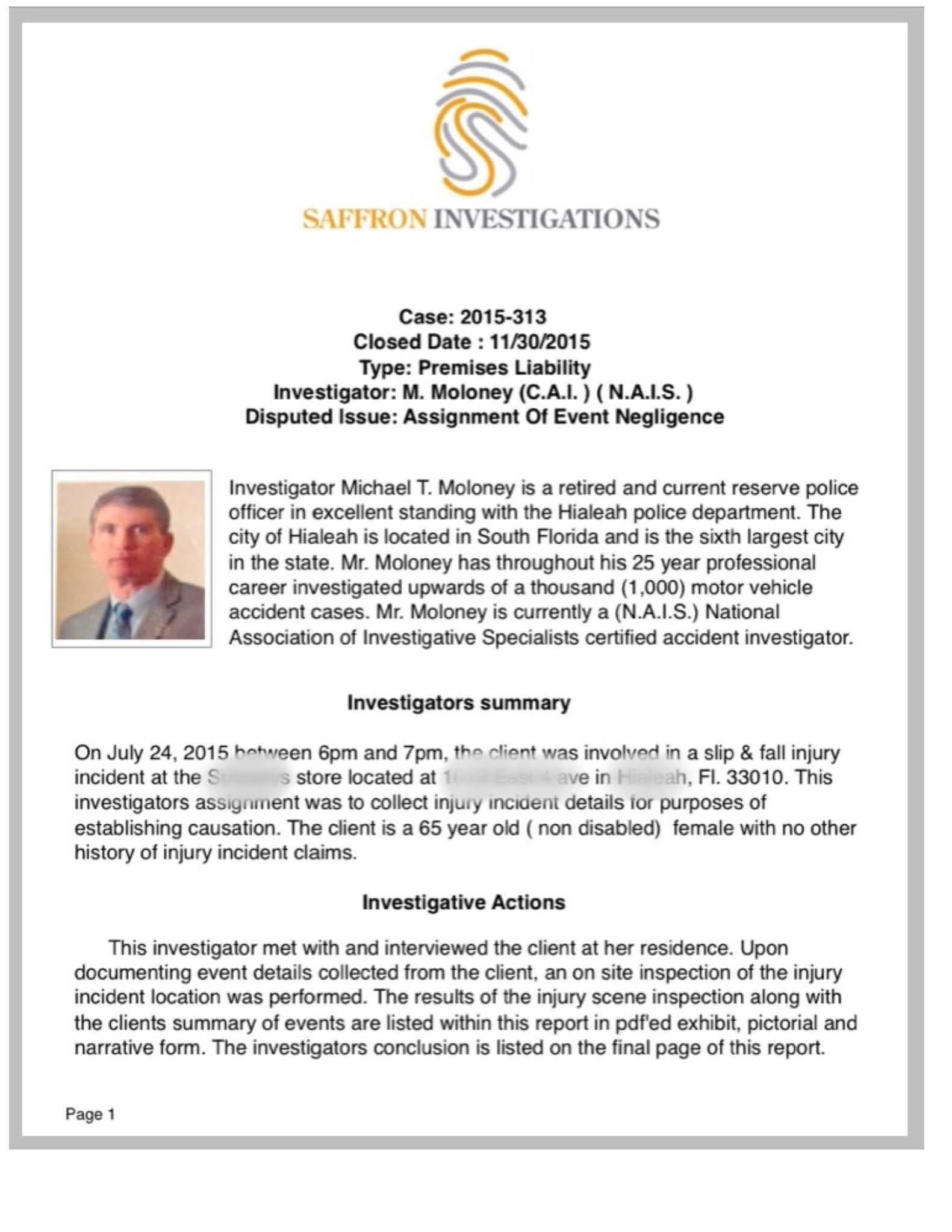 Slip & Fall Case - Private Detective & Private Investigator